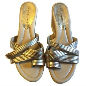 "Donald J Pliner ""Lettie"" metallic strap wedge 9.5M"